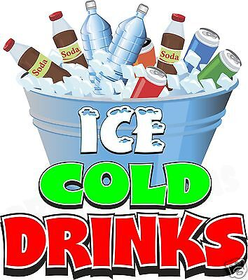 "Ice Cold Drinks 14"" Decal Water Soda Concession Food Truck Cart Viny Sticker"