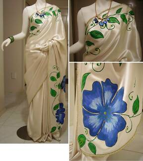 One-of-a-kind Hand-Painted Satin Saree #HP 001