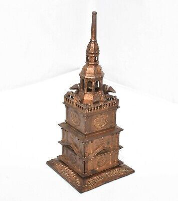 circa 1876 Cast Iron Independence Tower Coin Bank Enterprise Bell Rings M-1202