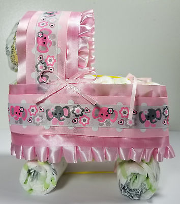 Diaper Cake Bassinet/Carriage - Pink with Pink and Gray Elephants Theme - Elephant Diaper Cake
