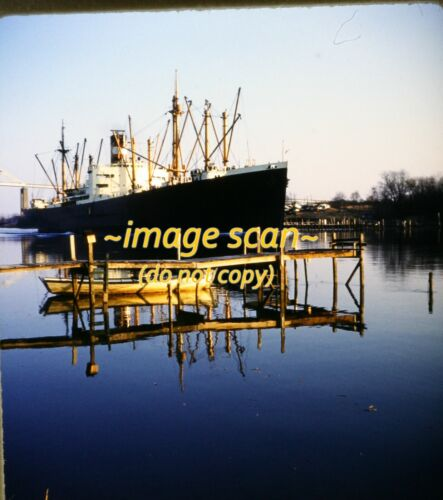 Stereo Slide, Cargo Ship on East Coast River in 1960