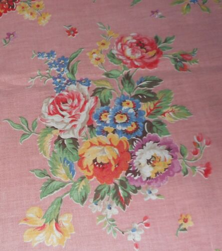 Antique Cottage Floral Roses Bouquet Cotton Fabric ~ Pink Blue Yellow Red Orange