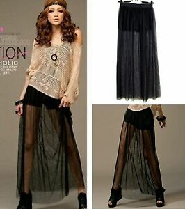 New-Fashion-Women-Skirts-SZ-S-Long-Party-Casual-See-through-Chiffon-Full-Skirt
