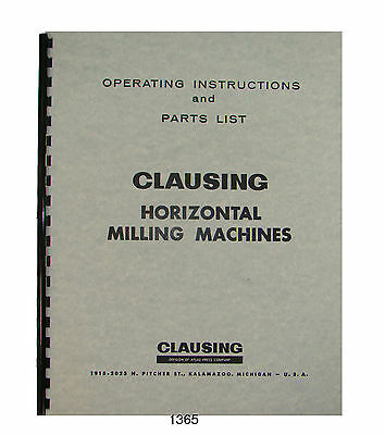 Clausing 8540 8541 8550 8551 Milling Machine Op Parts List Manual 1365