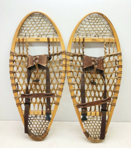 """Antique Vintage 14"""" X 30"""" FABER Bear Paw Snowshoes For Decor or Arts & Craft"""