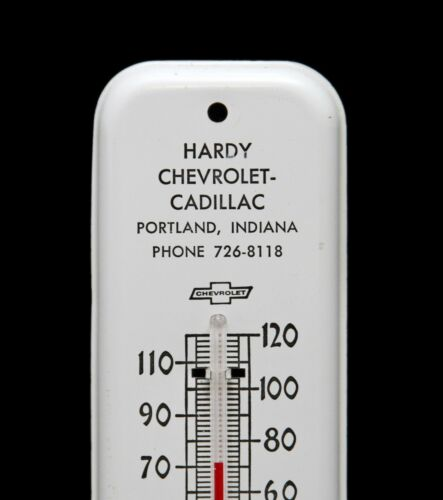 Vintage HARDY Chevrolet Chevy Car Dealership metal Thermometer Sign Portland IN