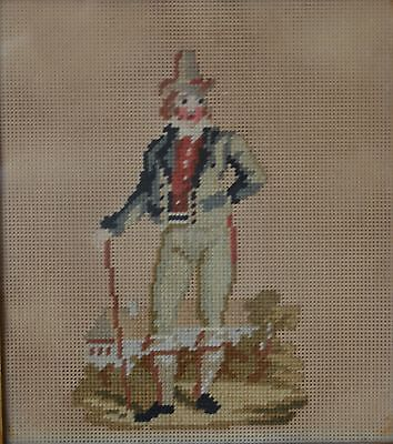 Antique 19th Century Old  Needlework Picture of a Period Hat Man with a Stick