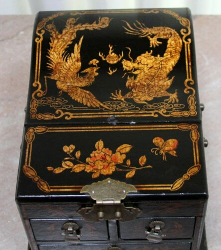 Antique Japan Black Lacquered Wood Jewelry Box / Chest Fighting DRAGON & Phoenix