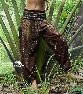 Harem Hippie Pants Peacock Feather Brown Yoga Festival Aladdin Boho Gypsy Comfy - Brown Harem Pants