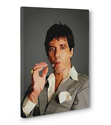 Scarface Al Pacino Poly Art Gallery Wrapped Canvas (Ready To Hang)