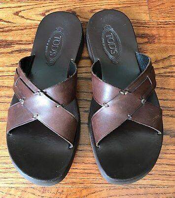 Authentic TOD'S Men sz 7 Brown Leather Slip On Slides Sandals Shoes