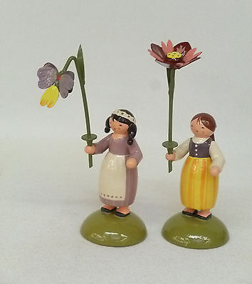 KWO 2 Blumenkinder farbig sortiert Original Handwerkskunst aus dem Erzgebirge