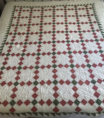 """YORK PA 1890's Nine 9-PATCH Quilt - 71"""" x 81"""" LOTS of Quilting! DOCUMENTED!"""
