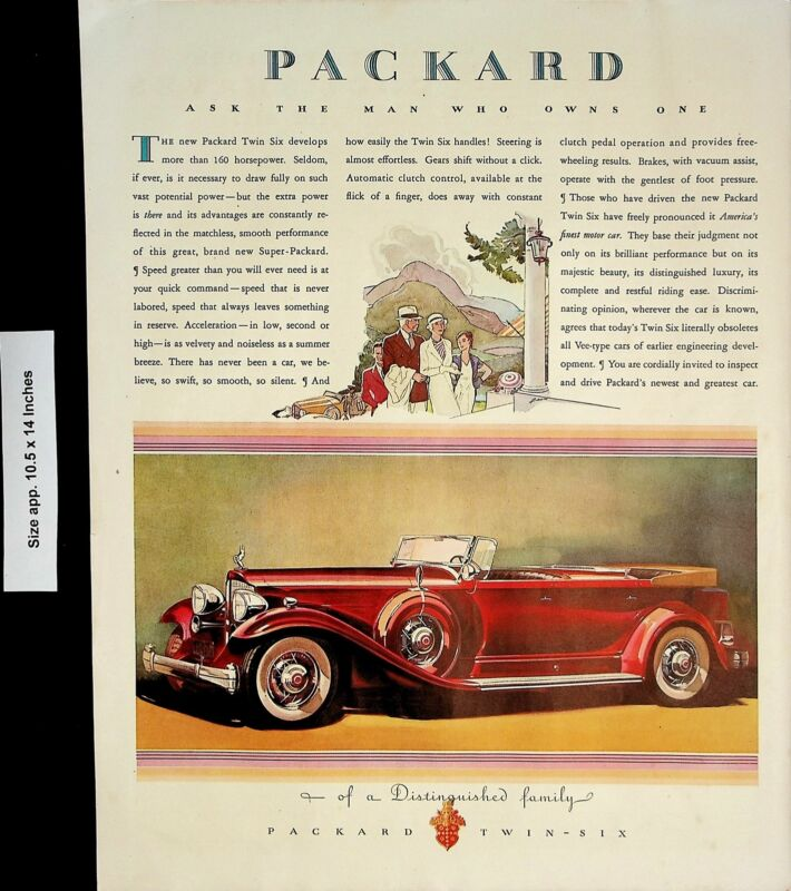 1932 Packard Twin Six Car Automobile Luxury Family Vintage Print Ad 4142