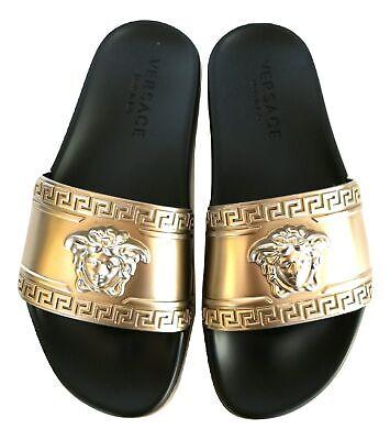 VERSACE sandals unisex rubber sandal DSU5883 DGOLG D914 black gold