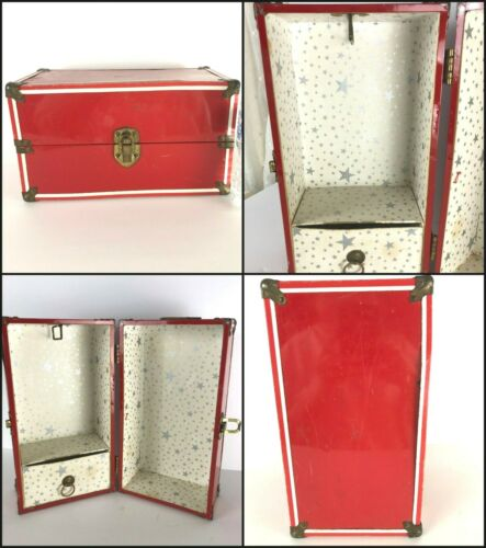 Vtg  Doll Clothes TRUNK 50s-60s Red Metal Wardrobe Carrying Case Mid Century