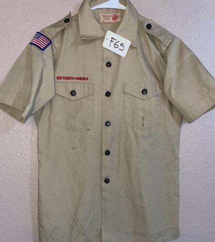 BSA Khaki Youth Short Sleeve Shirt Size Large Used 1_F65