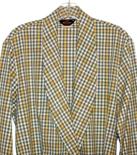 vtg 60s NOS HARCOURT Grey Yellow Checkered Plaid Gingham Smoking Jacket Robe M
