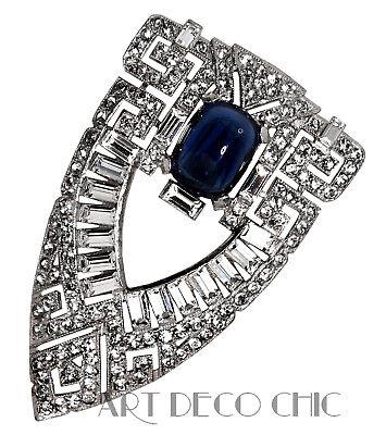 LARGE Trifari KTF Art Deco Sapphire Cabochon Pavé & Baguette Paste Dress Clip