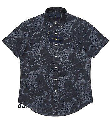 Men Polo Ralph Lauren SLIM FIT Koi Fish Blue Indigo Chambray Cotton Button Shirt