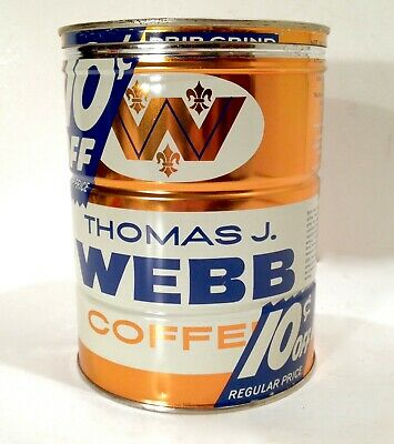Vintage 1958 Thomas Webb 10 Cents Off Coffee Good Looking Can W/ Nice Graphic