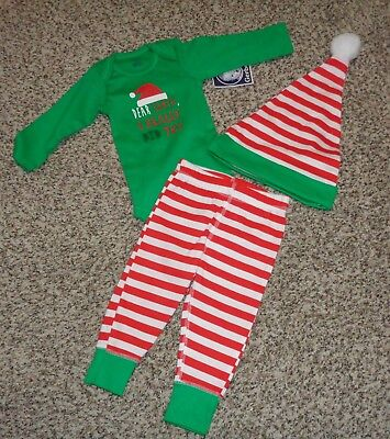 Gerbers Baby Boys Christmas Elf 3 Piece Outfit Onesie Pants Hat 3-6 Months NEW  - Elf Outfit Baby