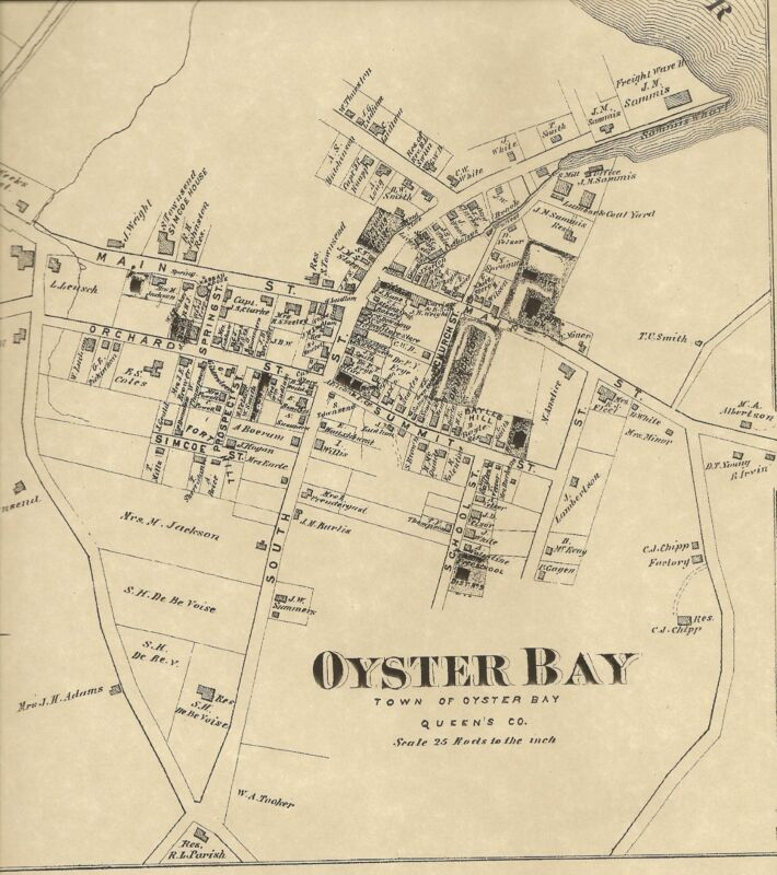 Oyster Bay Jericho Farmingdale, NY 1873 Maps with Homeowners Names Shown