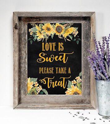 ~Wedding Sign~Love is Sweet Take a Treat~ Rustic Chalkboard/Sunflowers 8