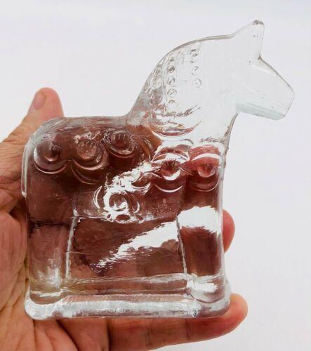 """Vintage Swedish Glass Horse - Lindshammar Sweden - 4.5"""" tall - no damage"""