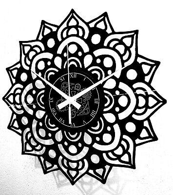 Reloj En Vinilo de Pared Decorativo Flor Artwork Mandala Vintage Handmade