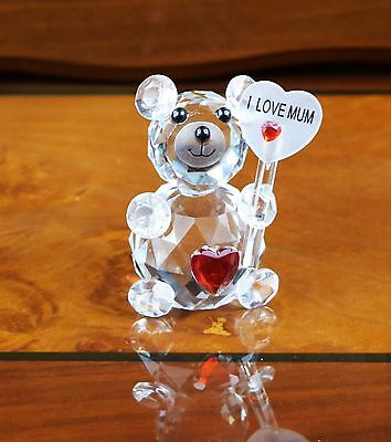 Crystal Cut Clear Teddy Bear I Love You Mum Mom Gift For Birthday