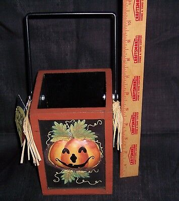 HALLOWEEN WOODEN BOX METAL IRON HANDLE HANGING  IN-OUTDOOR - Wooden Outdoor Halloween Decorations