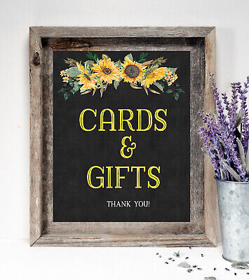 `Cards and Gifts ~ Wedding Sign~ Rustic/Chalkboard Print /Sunflowers 8