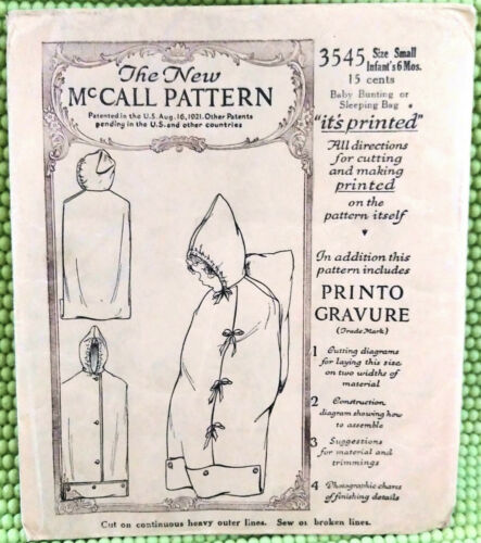 1921 McCall Sewing Pattern 3545 Infant 6mo Baby Bunting/Sleeping Bag/Sack Printo