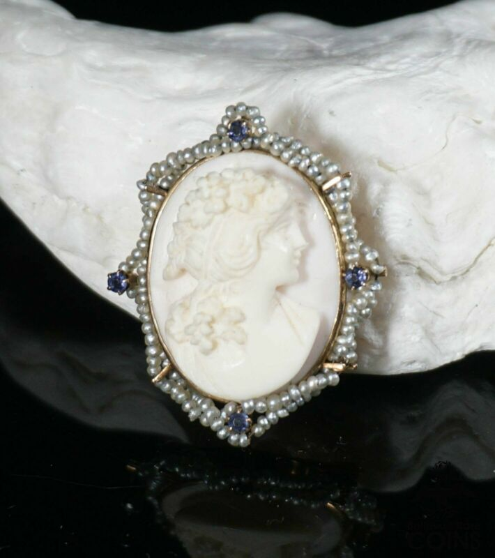 10k Yellow Gold & Pearl Pink / White Shell High Relief Cameo Brooch Pendant