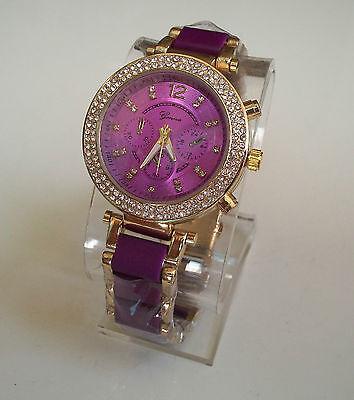 Designer Chunky  Purple/Gold Finish Chrono  Style Geneva Bracelet Fashion (Geneva Chronograph Style Silicone)