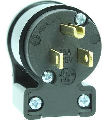Right Angle Straight Blade Replacement Extension Cord Male Plug 15A 125V 5-15P