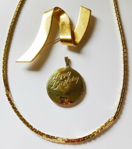 Retro Vintage Monet Jewelry Lot: Moveable Happy Birthday Pendant Chain Necklace