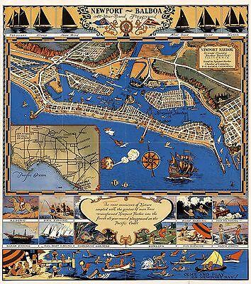 1939 pictorial map Newport Harbor Orange County Harbor California POSTER 8877003