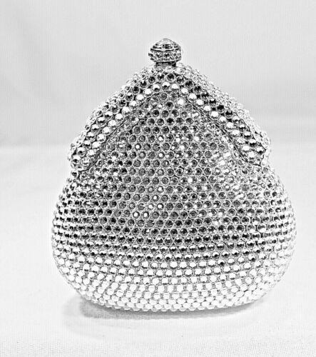 Mini Crystallized Clutch Bag Cute Minaudière w/ Swarovski Clear Crystals Purse
