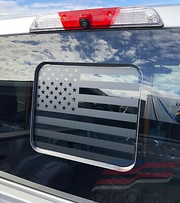 2015-2020 Ford F150 F250 F350 Back Middle Window American Flag Decal Sticker BLK