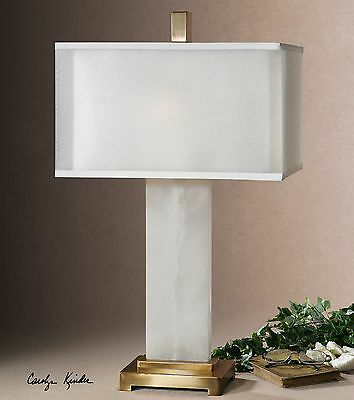Modern White Alabaster Table Lamp | Contemporary Marble Stone -