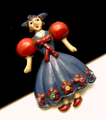 Vintage 1930s Enamel Rhinestone Dutch Doll Figural Brooch Pin Pot Metal on Lookza
