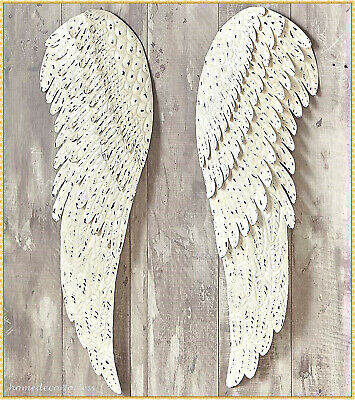 2 PC Metal Angel Wings Religious Distressed Vintage Rustic Wall Art Home Decor