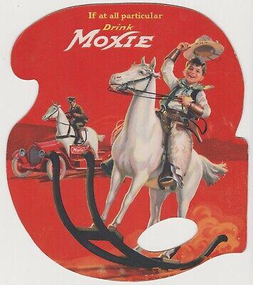 Vintage 1922 MOXIE SODA FAN w/ COWBOY GRAPHIC Investment Grade Near Mint