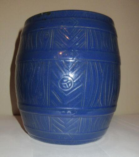 "Vintage Pottery Humidor Tobacco Jar Barrel Shape Blue Screw Top 6.25"" Tall Heavy"