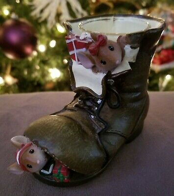 Yankee Candle Co. Tea Light Holder Christmas Holiday Mice Boot