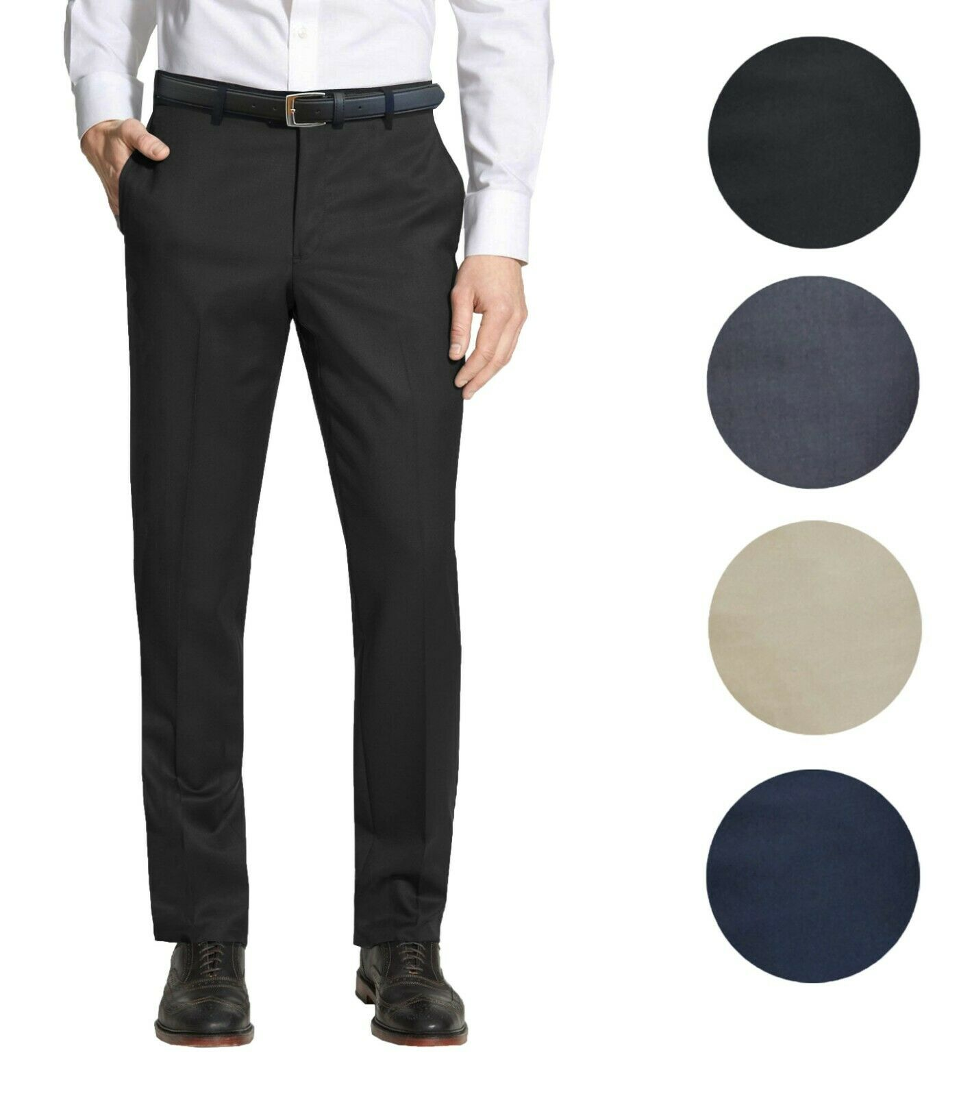 Mens Belted Slim Fit Dress Pants Flat Front Multiple Colors