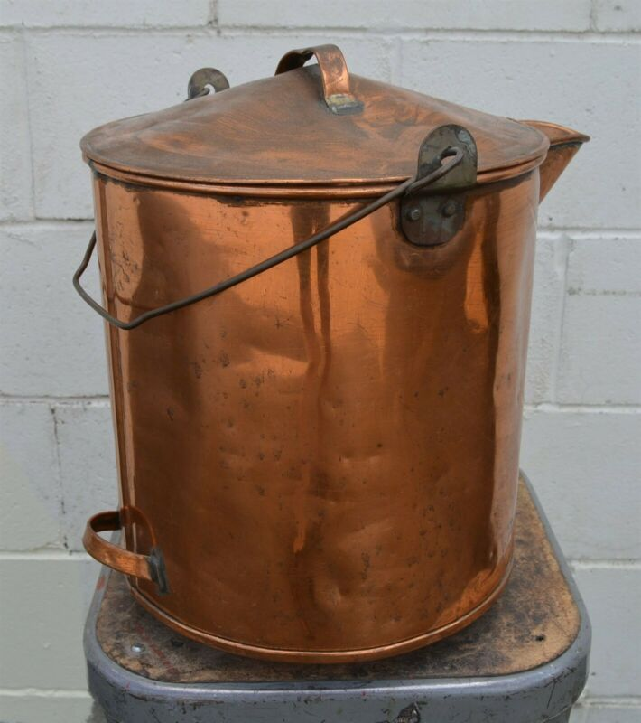 Large 10 pound Antique Brass Caboose Water Kettle with spout Railroad use