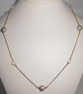 """14K Pearl Necklace Station Necklace Quartz 17"""" With 8 mm Pearls Yellow Gold"""